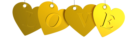 Golden Hearts love tags on white background